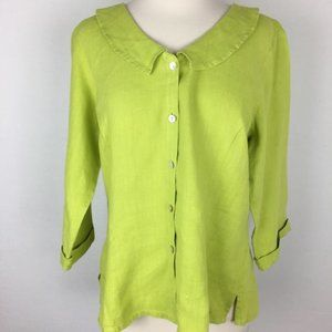 Flax Green Button Down Small